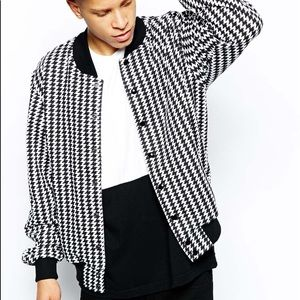 American Apparel Bomber Jacket Houndstooth Print